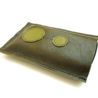 Olive green Leather cell phone sleeve case