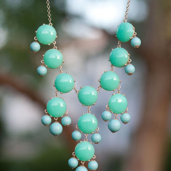J Crew Bubble Necklace Inspired - Mint Green Bubble Statement Bib Necklace.