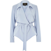 River Island Womens Blue cropped drape trench jacket