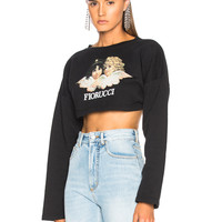 FIORUCCI Vintage Angels Super Cropped Sweatshirt in Black | FWRD