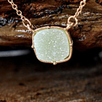 Green/Turquoise Square Druzy Necklace