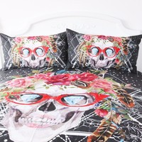 Skull with Glasses Duvet Set