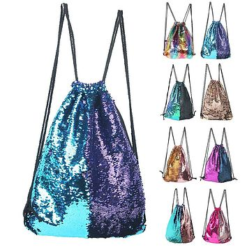 Winmany Mermaid Sequin Backpack Glittering Outdoor Shoulder Bag Blue Purple One size
