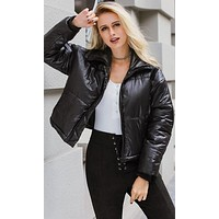 In A Puff PU Faux Leather Quilted Padded Zip Front Puffer Coat Outerwear - 4 Colors Available
