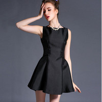 Black Sleeveless A-Line Button Dress