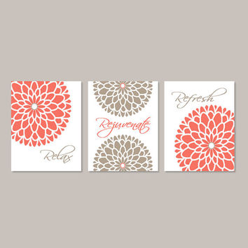 Coral Bathroom Decor Relax Rejuvenate Refresh Floral Flower Wall Art Bathroom Wall Decor Bathroom Art Set of 3 Prints Or Canvas