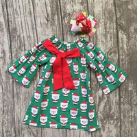 baby girls Fall Christmas dress children cute party dress girls boutique Santa Claus dress with matching bows