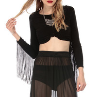 On the Knot Fringe Crop Top