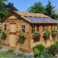 Outdoor Living Today Sunshed 12 Ft. W x 12 Ft. D Wood Garden Shed