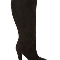 FOREVER 21 Faux Suede Knee-High Boots Black