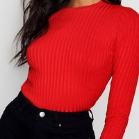 Ribbed Crew Neck Top With 3/4 Sleeves | Boohoo