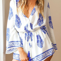 Bohemian Print Plunging Neck Long Sleeve Romper