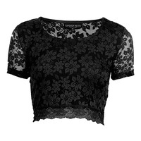 Petite Short Sleeve Lace Crop - Going Out - Clothing - Topshop USA