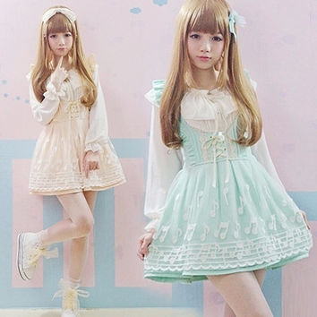2016 Summer High-waist Cute Japanese Overall dress Lace Music note JSK Women Ribbon bow Japan Lolita Green/Beige Kawaii dress