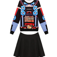 Multicolor Plus Size Printed Knit Top & Mini Skirt Co-ords
