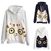 White Printed Cat Drawstring Hoodie