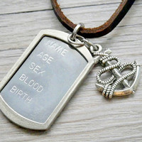 military dog tag with silencer & anchor charm pendant necklace