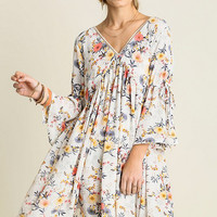 White Floral Sleeve Slit Peasant Dress
