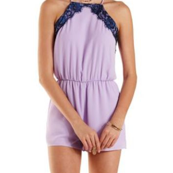 Navy Combo Lace & Chiffon Racer Front Romper by Charlotte Russe