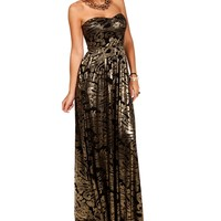 Black/Gold Strapless Long Dress