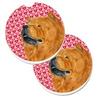 Chow Chow Hearts Love and Valentine's Day Portrait Set of 2 Cup Holder Car Coasters SS4502CARC