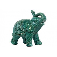 Fortune Follower Elephant Statue, Turquoise