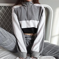 2018 Women'S Sexy Stitching Hit Color Sweater