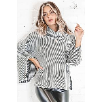 Dotted Line Black And White Striped Sweater