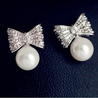 Silver Bow and Pearl Earrings - LilyFair Jewelry