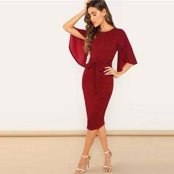 Weekend Casual Round Neck Flutter Sleeve Self Belted Pencil Dress Modern Lady Casual Women Dresses
