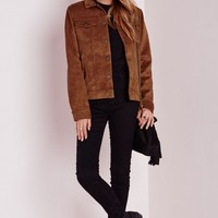 Missguided - Faux Suede Jacket Tan