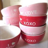 XOXO Angel Red Bowl for Valentine's Day by Hideminy on Etsy