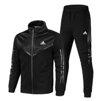 ADIDAS 2018 new men's casual zipper cardigan outdoor running sportswear two-piece black