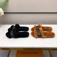 LV Louis Vuitton Women's Leather Slippers Sandals Shoes