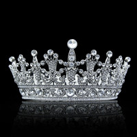 European Design Rhinestone Crystal High Quality Big Tiara Crown Headbands Wedding Bridal Hair Jewelry Accessories Round Crown
