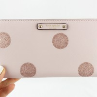 Kate Spade Haven Lane Neda Zip Around Wallet Lacey Pink Polka Dots Glitter