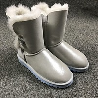 Ugg 1002174 W Irina Clouds Smoke White Classic Bailey Button Bling Boot Snow Boots