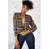 Candy Girl Plaid Blazer