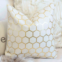 Gold Foil HEXAGON lined Pillow Cover