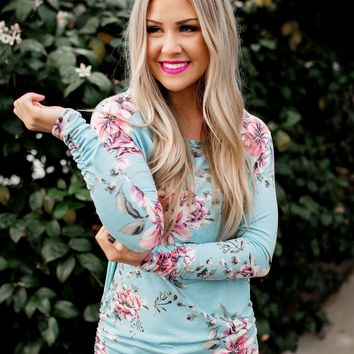 Something About Her Tunic (Aqua Floral)