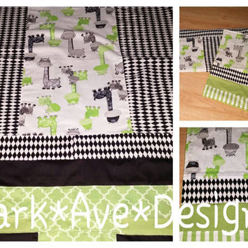 Baby boy . Black lime green grey Giraffe patchwork blanket and burp cloth set .Free shipping with coupon code
