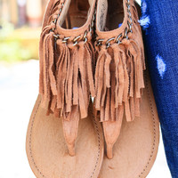 KEEP THE PEACE FRINGE SANDALS IN TAN