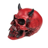 Alchemy Gothic Crimson Red Demon Devil Skull w/ Horns