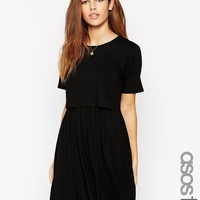 ASOS TALL Skater Dress With T-Shirt Overlay