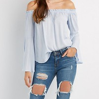 Striped Off-The-Shoulder Bell Sleeve Top