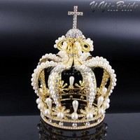VONG2W New 155*117mm Big Crown Crystal With Pearl Tiara Wedding Crown Bride Womens Head Band Vintage Baroque Royal HairBand Accessories