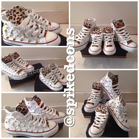 Mommy & Me cheetah/leopard spike studded converse