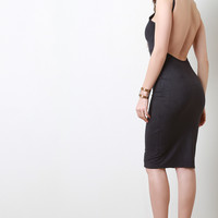 Vegan Suede Square Neck Backless Bodycon Dress