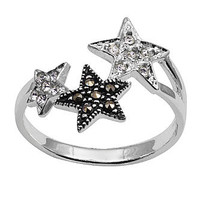 Ladies Sterling Silver Stars with Marcasite Crystal Ring