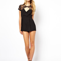 Black Lace And Mesh Cutout Romper